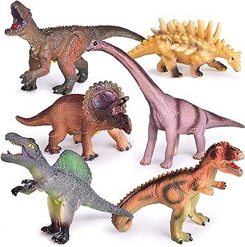 LOT OF 6 NEW DINOSAURS TOYS DINO KIDS ANIMAL FIGURE PLAY SET 34 PCS EDUCATIONAL