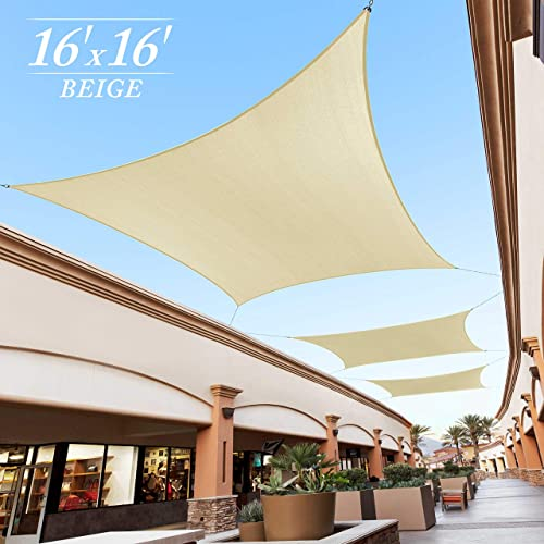 Royal Shade 16 x 16 Beige Square Sun Shade Sail Canopy, 95 UV Blockage, Heavy Duty 200GSM, Custom Made Size