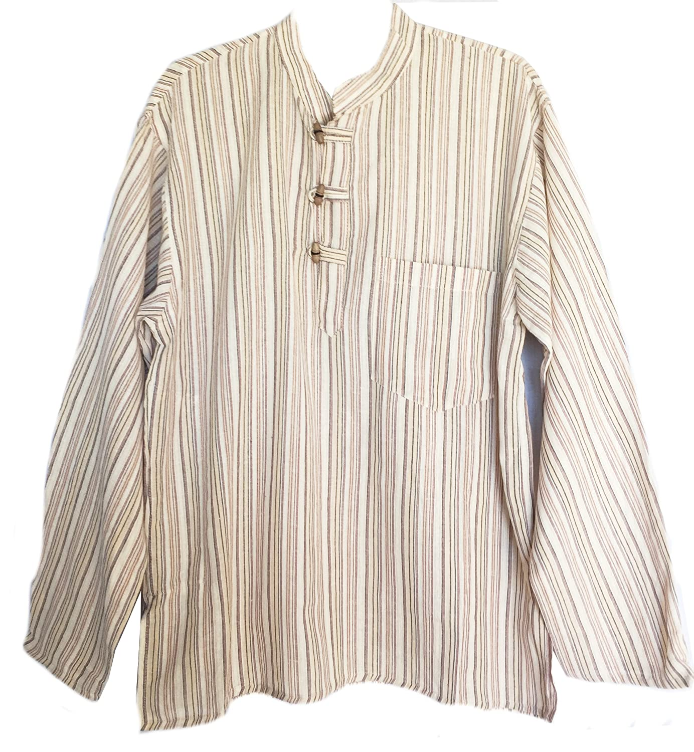 Men's Hand Loomed Striped Cotton Banded Collar Tunic