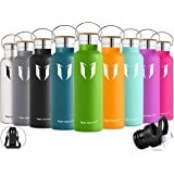 Super Sparrow Stainless Steel Vacuum Insulated Water Bottle, Double Wall Design,Standard Mouth - 500ml & 750ml - BPA Free - with 2 Exchangeable Caps + Bottle Pouch