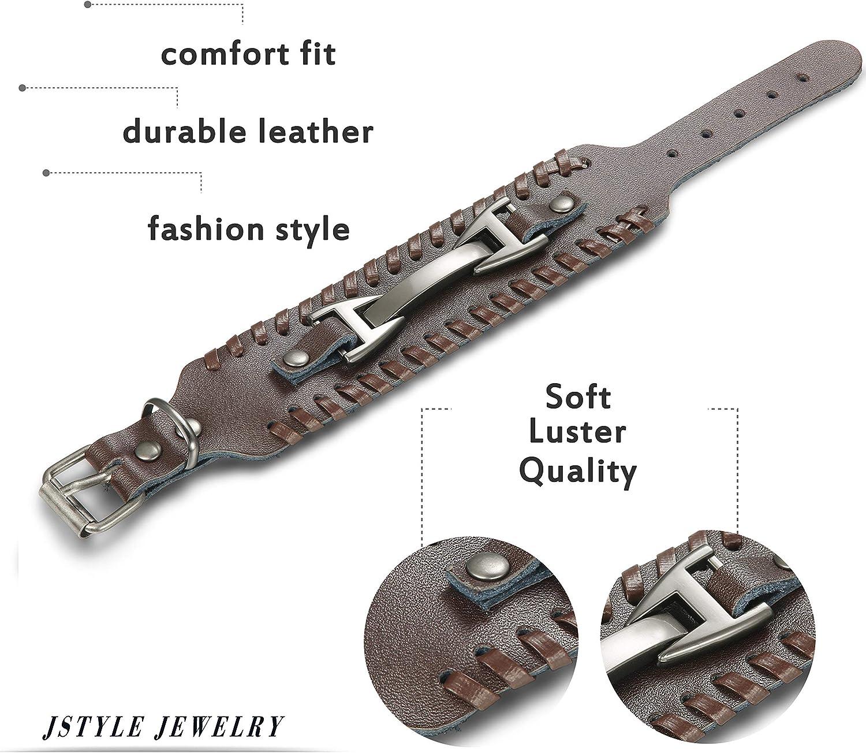 Milacolato Bracelet en Cuir pour Homme Bracelet Manchette Cuir Bracelet Poignet R/églable Noir Marron