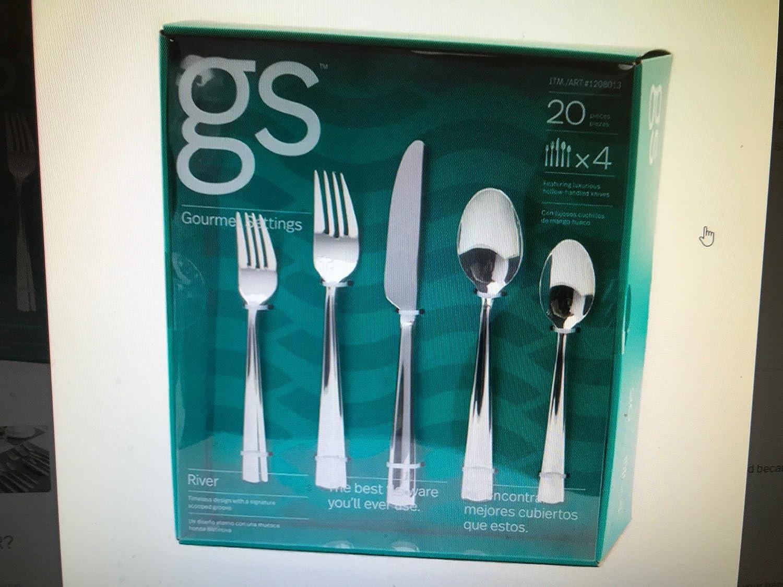 Amazon.com | Gourmet Settings GS Moonlight Fabulous Fine Flatware 20 Pieces Set: Flatware Sets