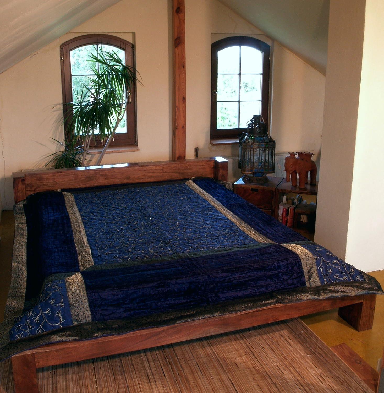 Guru-Shop Brokat- Samtdecke, Tagesdecke, Bettüberwurf - Dunkelblau, Synthetisch, 270x230 cm, Patchwork Steppdecke aus Indien