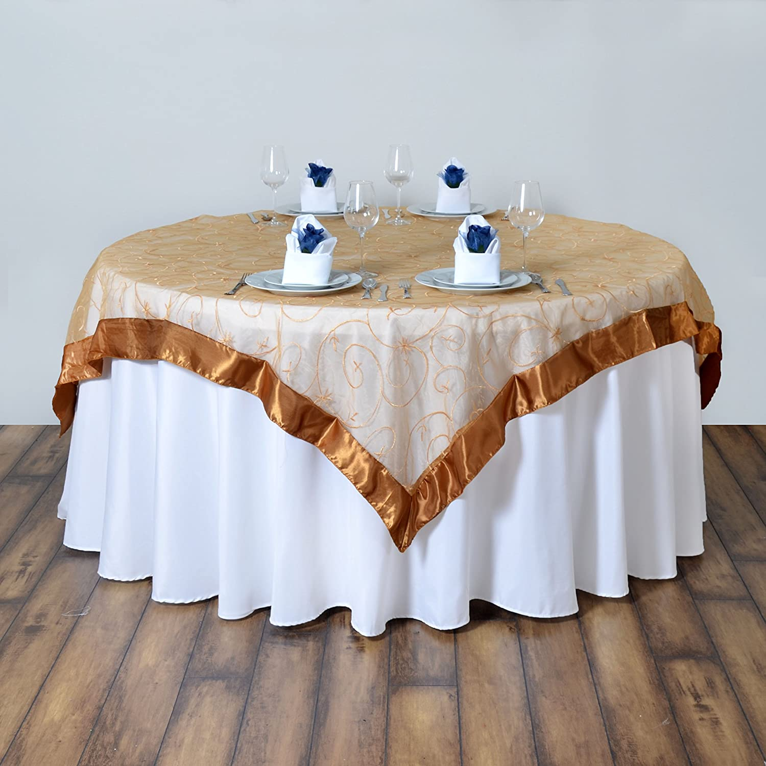 Amazon Com Balsacircle 72x72 Inch Gold Embroidered Sheer Organza Table Overlays Wedding Reception Party Catering Linens Decorations Home Kitchen
