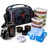 ThinkFit Insulated Meal Prep Lunch Box with 6 Food Portion Control Containers - BPA-Free, Reusable, Microwavable, Freezer Saf