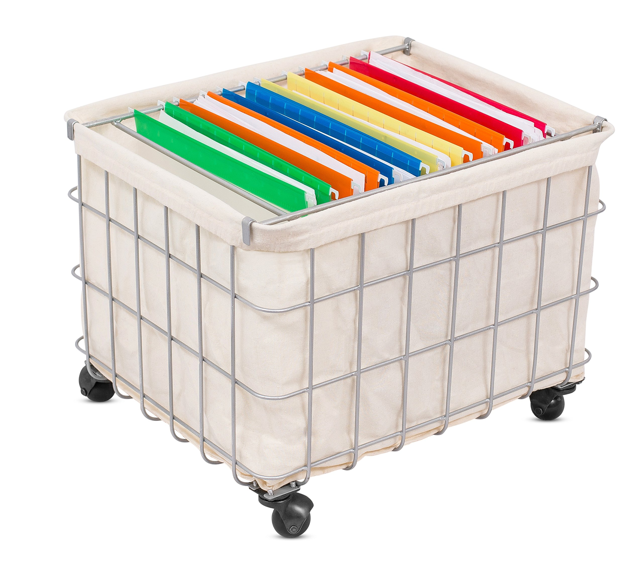 BirdRock Home Metal Wire Rolling File Cabinet with Linen Liner | Blanket Toy Magazine Storage | Home Office Decor | Hanging Files