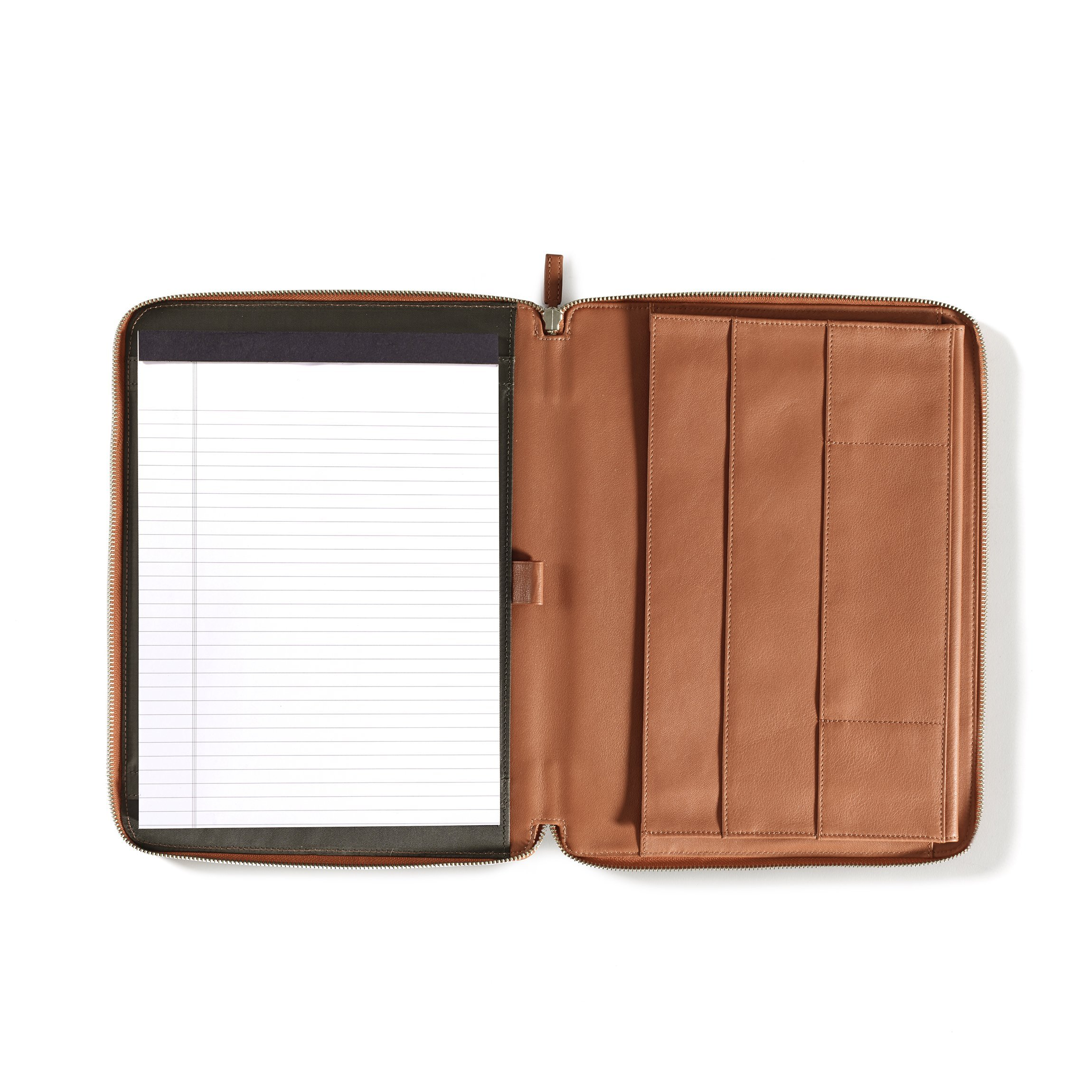 Left Handed Executive Zippered Portfolio - Full Grain Leather Leather - Cognac (brown)
