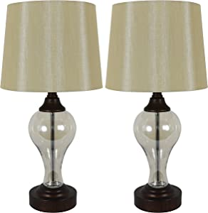 Décor Therapy Brady Table Lamps with USB Ports (Set of 2), Bronze, Luster Amber Glass, Model: MP1080