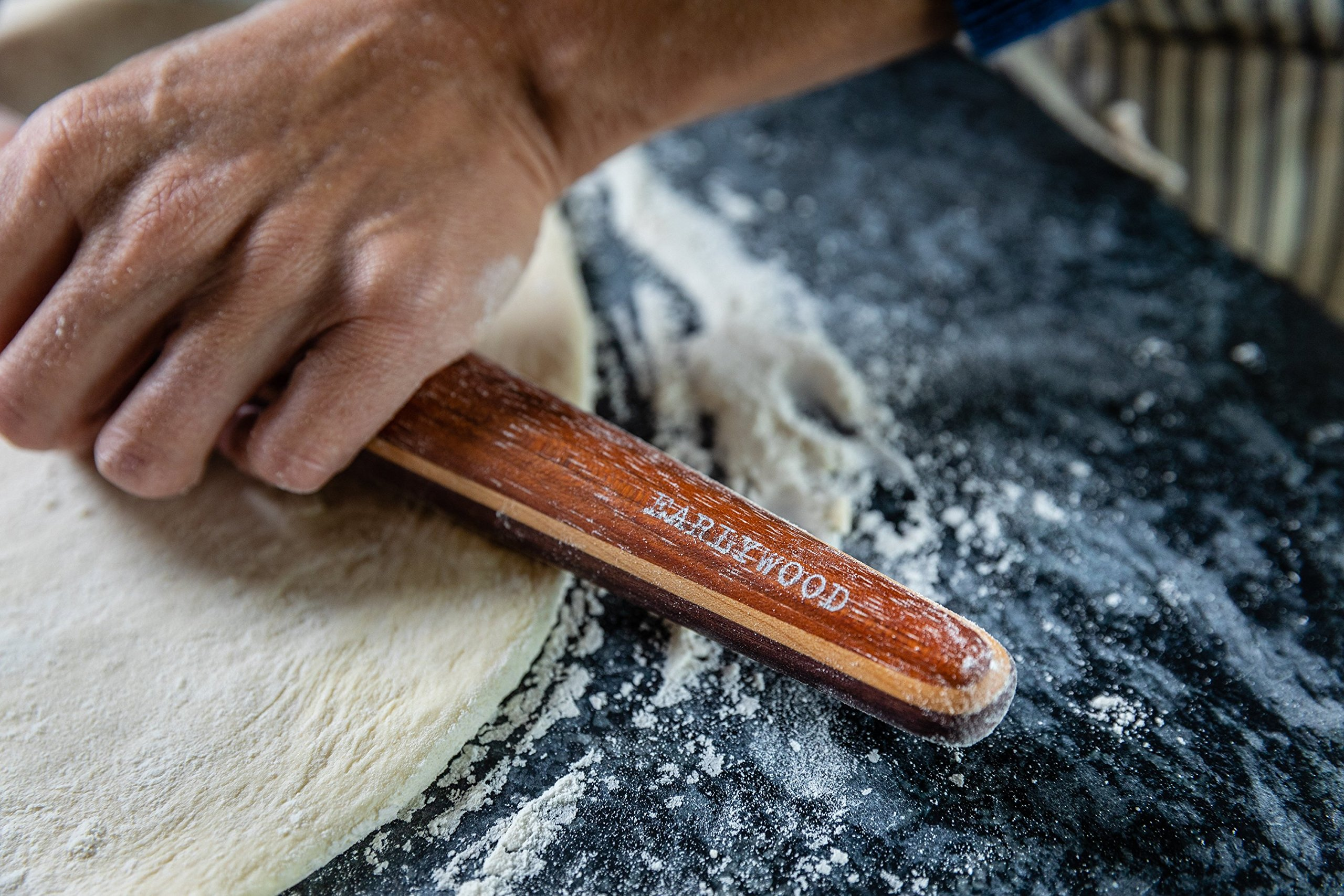 Earlywood French Rolling Pin - Tapered Wooden Rolling Pin for Baking Pizza, Pastry Dough or Pasta - Hard Wood Roller Baking Pin Made in USA, By Earlywood -Jatoba, Maple, Mexican Ebony,Multicolor by Earlywood (Image #4)