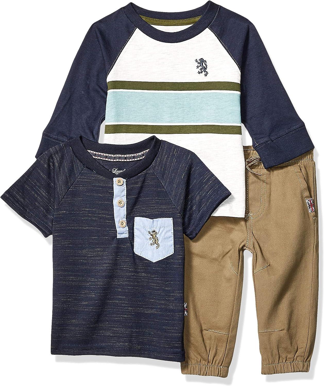 English Laundry Baby Boys Long Sleeve, Henley T-Shirt, and Jogger Pant