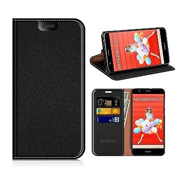 MOBESV Funda Cartera Huawei P10 Lite, Funda Cuero Movil Huawei P10 Lite Carcasa Case con Billetera/Soporte para Huawei P10 Lite - Negro