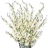 TYEERDEC Fleurs Orchidée Artificielles 12 Bouquets d'Orchidée Oncidium en Soie pour Décoration de Mariage Bureau Home Soirée Ameublement Festif Blanc