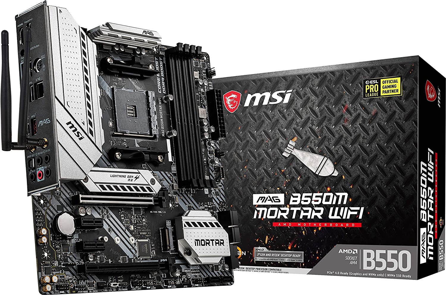MSI MAG B550M Mortar WiFi Gaming Motherboard (AMD AM4, DDR4, PCIe 4.0, SATA 6Gb/s, M.2, USB 3.2 Gen 2, AX Wi-Fi 6, HDMI/DP, Micro-ATX)