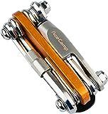 AceCamp 2565, strumento all-in-one per biciclette, mini strumento, attrezzo multifunzione per riparazioni, set 14in 1, 187g, colore arancione, argento, 1 pezzo