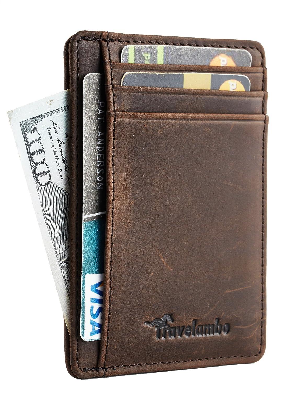 30bd8b5efa840 Travelambo Front Pocket Minimalist Leather Slim Wallet RFID Blocking Medium  Size