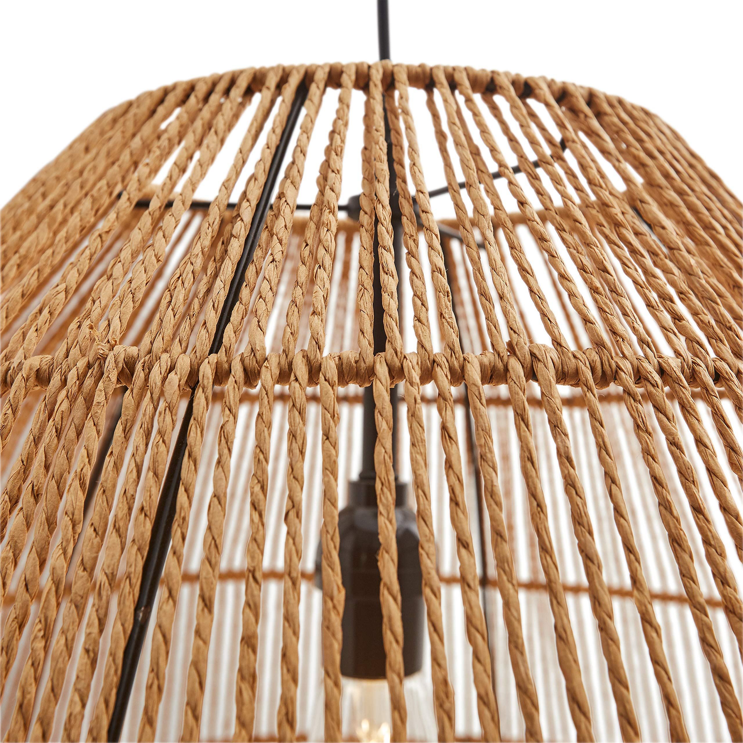 Stone & Beam Rustic Global Round Woven Pendant with Bulb, 44.5''H, Natural Rattan by Stone & Beam (Image #2)