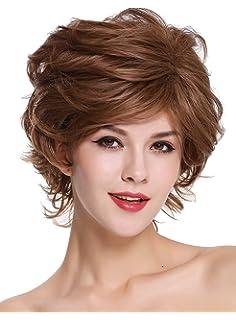 WIG ME UP ® - DM02-12H24 Parrucca donna Corta Scompigliata Cotonata  Ondulata Castano chiaro 1407168fa00a