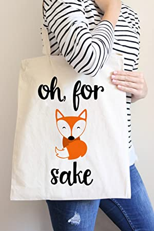 Oh for Fox Sake 15 x 16 tote bag