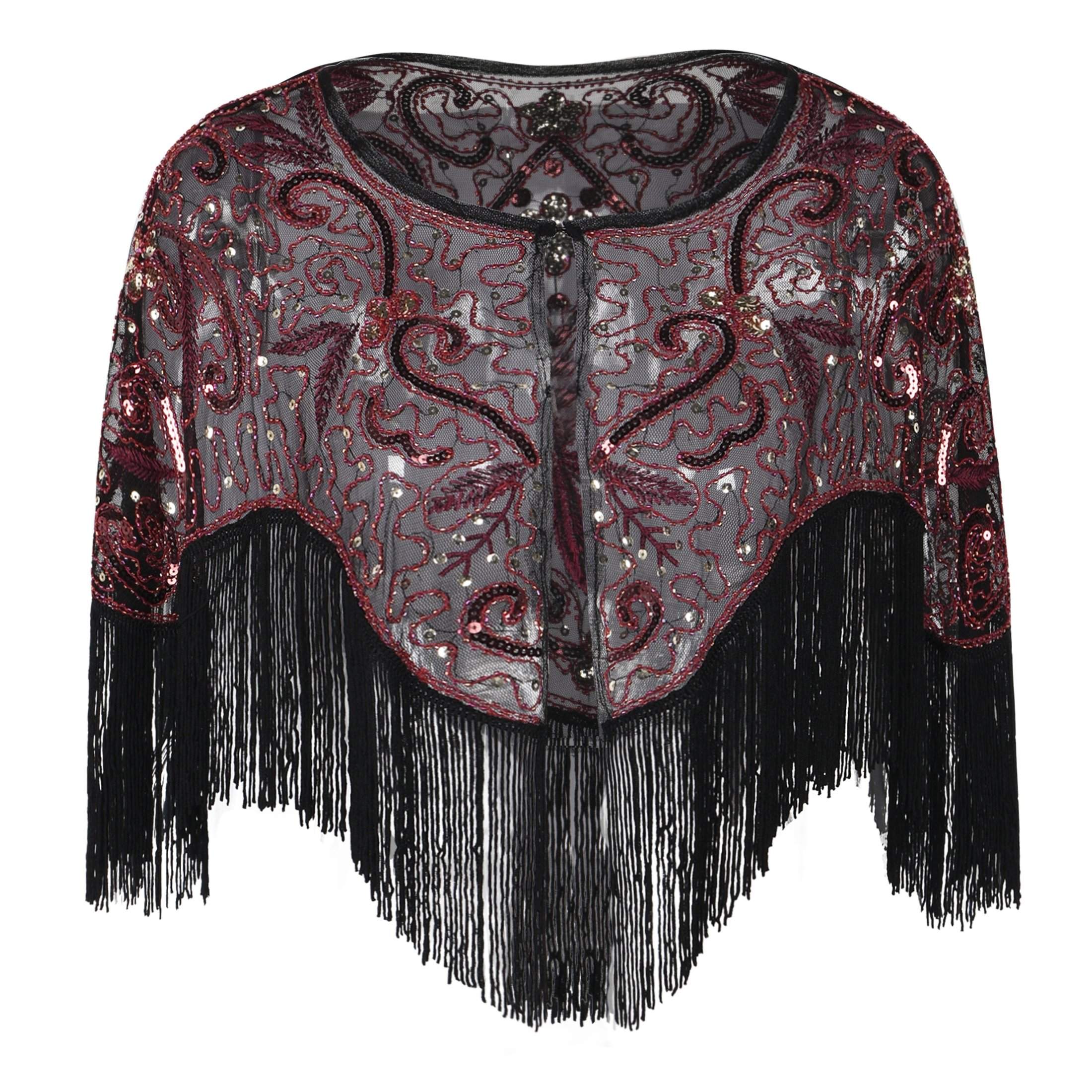 PrettyGuide Women's Evening Warps Bead Sequin Fringed Flapper 1920s Bridal Capelet Burgundy
