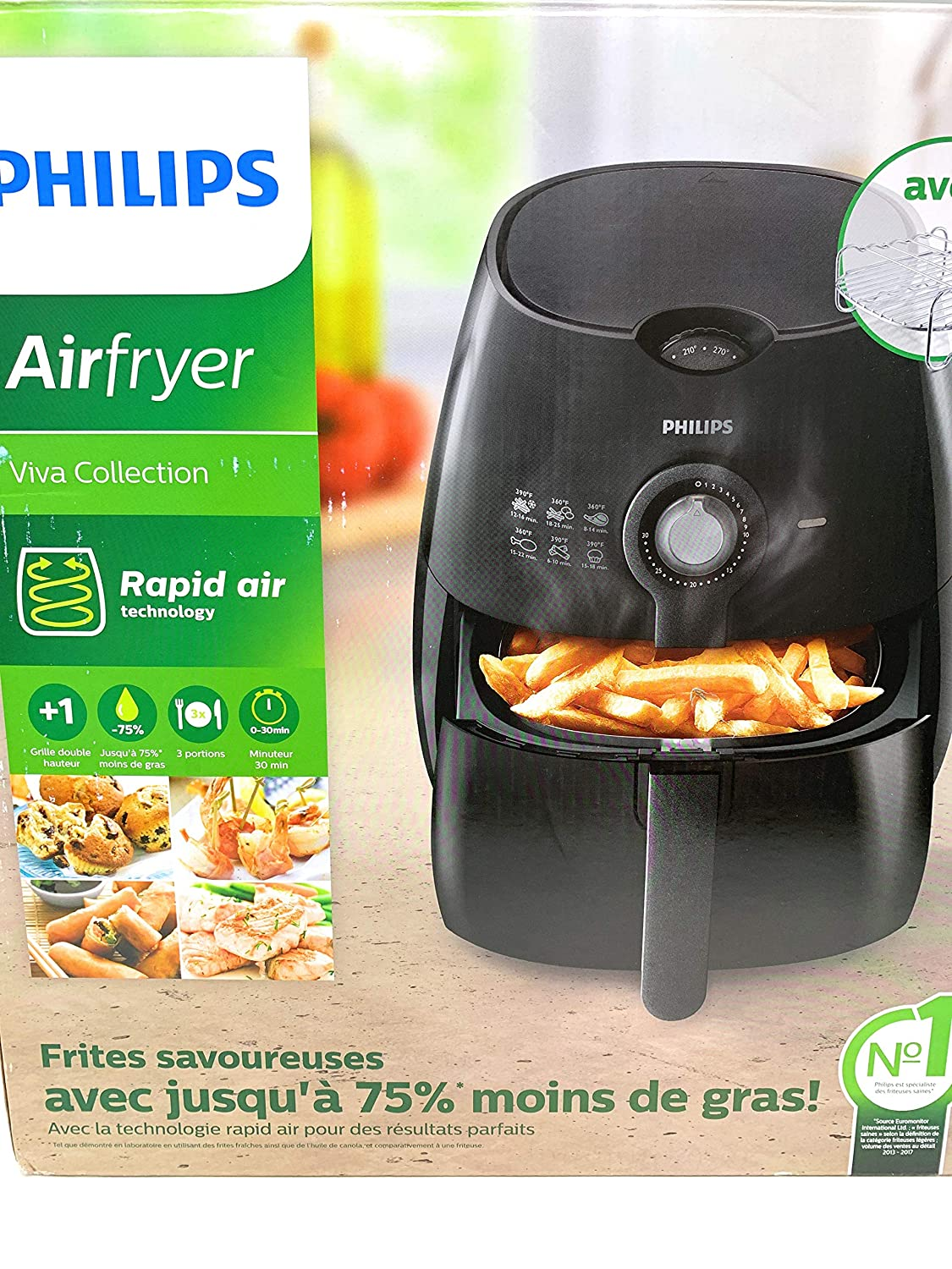 Philips HD9226 23 Viva Airfryer 1.8lb 2.75qt Black Fryer with Double Layer Rack