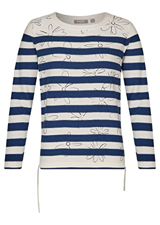 1153b4b354e4f1 Rabe Damen Pullover Elements gestreift blau/Weiss - 44: Amazon.de ...