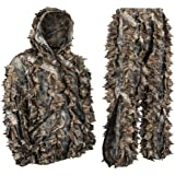 North Mountain Gear Camouflage Premium Guide Series 3D Hunting Leafy Ghillie Suit JACKET Full Front Zipper Hood Front Zip Pockets Pants With Zipper Pockets And Knee Length Zippers