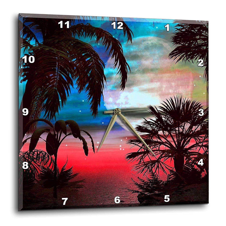3dRose DPP_108150_3 Hawaiian Sunset-Wall Clock, 15 by 15-Inch