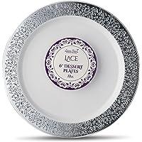 [10 Count - 6 Inch Plates] Laura Stein Designer Tableware Premium Heavyweight Plastic White Dessert Plates With Silver…