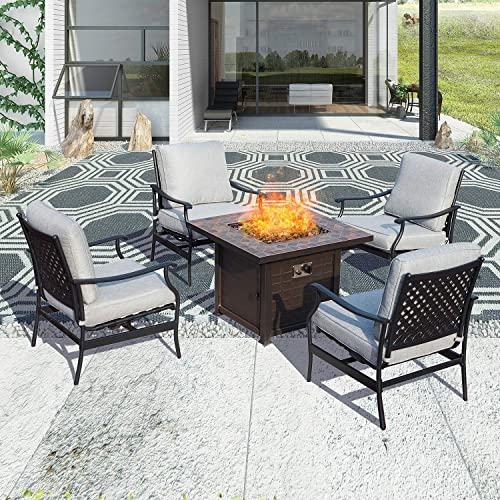 Patio Festival Outdoor Patio Conversation Set CSA Certification 50,000 BTU Fire Pit Table Sets Square Gas Firepit Metal Sofa Chair with 5.1 Thick Seat Cushion 5 PCS,Grey