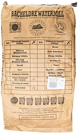 Bacheldre Watermill Organic Stoneground Strong Fine Ground Wholemeal Flour 16 Kg Packaging May Vary