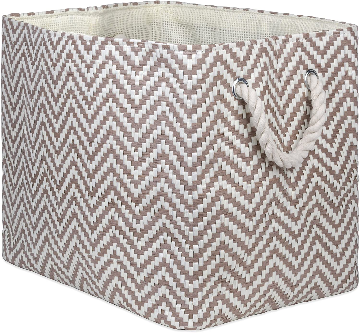 "DII Oversize Woven Paper Storage Basket or Bin, Collapsible & Convenient Home Organization Solution for Office, Bedroom, Closet, Toys, & Laundry (Medium - 15x10x12""), Stone Chevron"