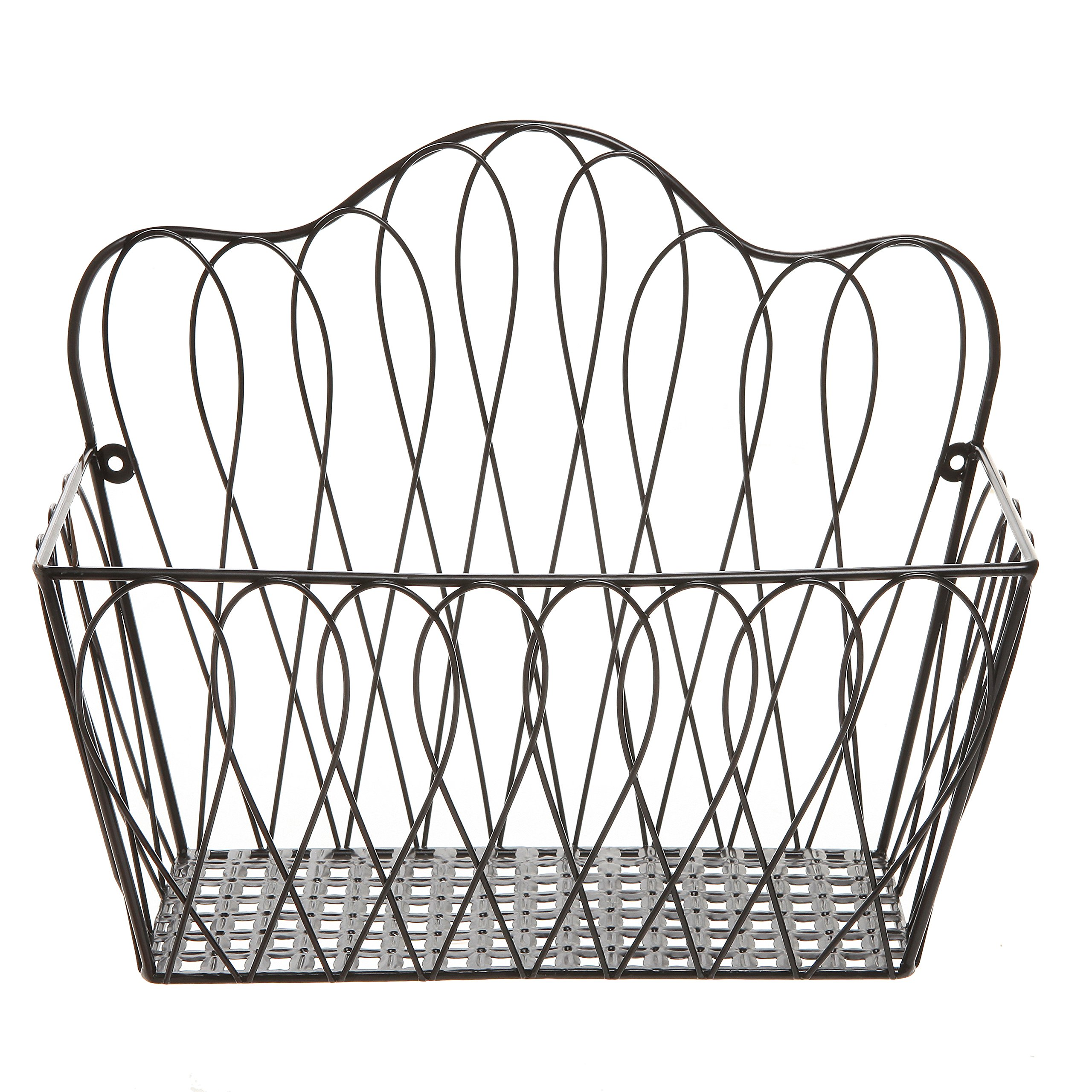 MyGift Decorative Black Metal Wire Loop Design Wall Mounted Magazine ...