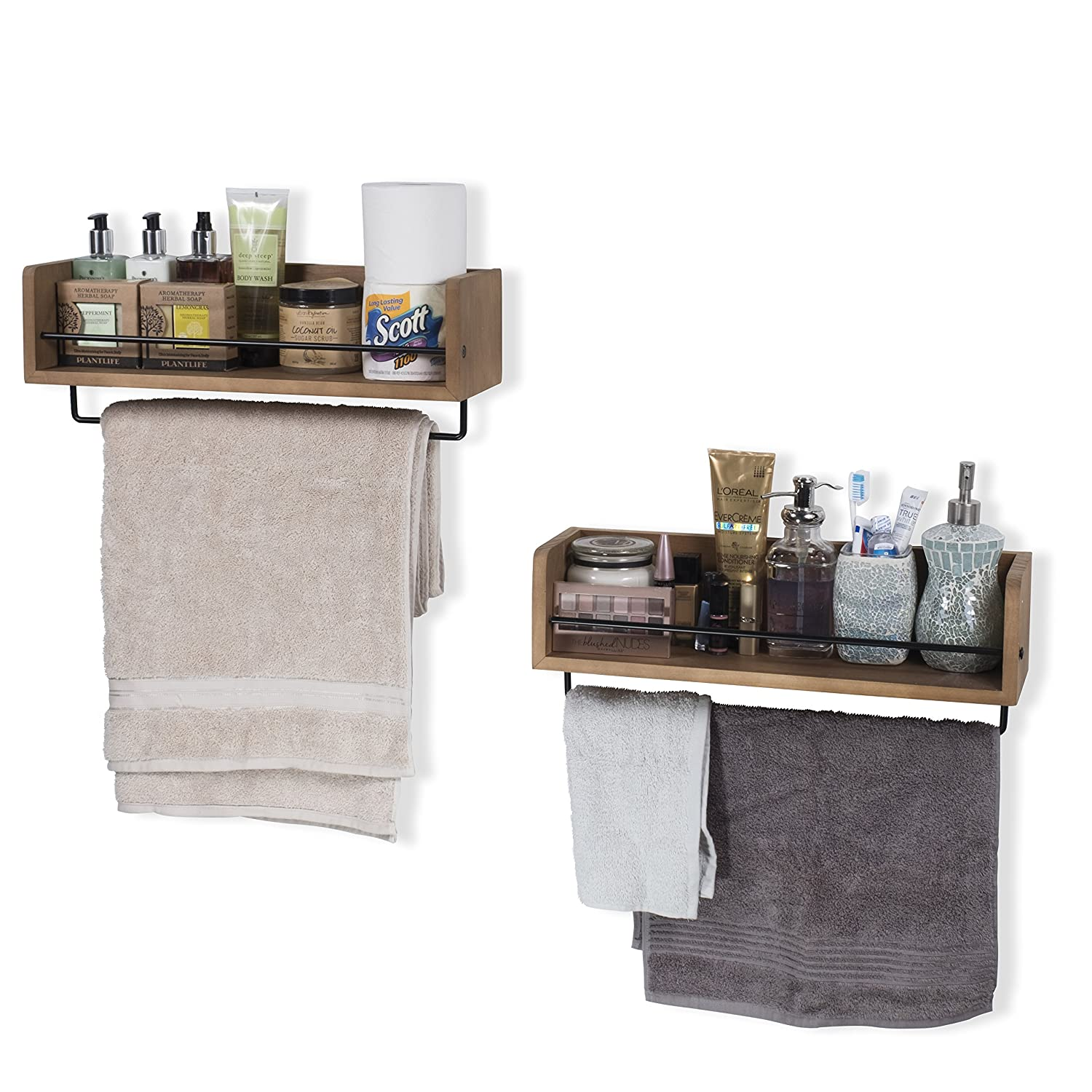 Rustic State Floating Kitchen Wall Mount Shelves Spice Storage Rack with Towel Rail by Set of 2 Walnut Stained ArtifactDesign