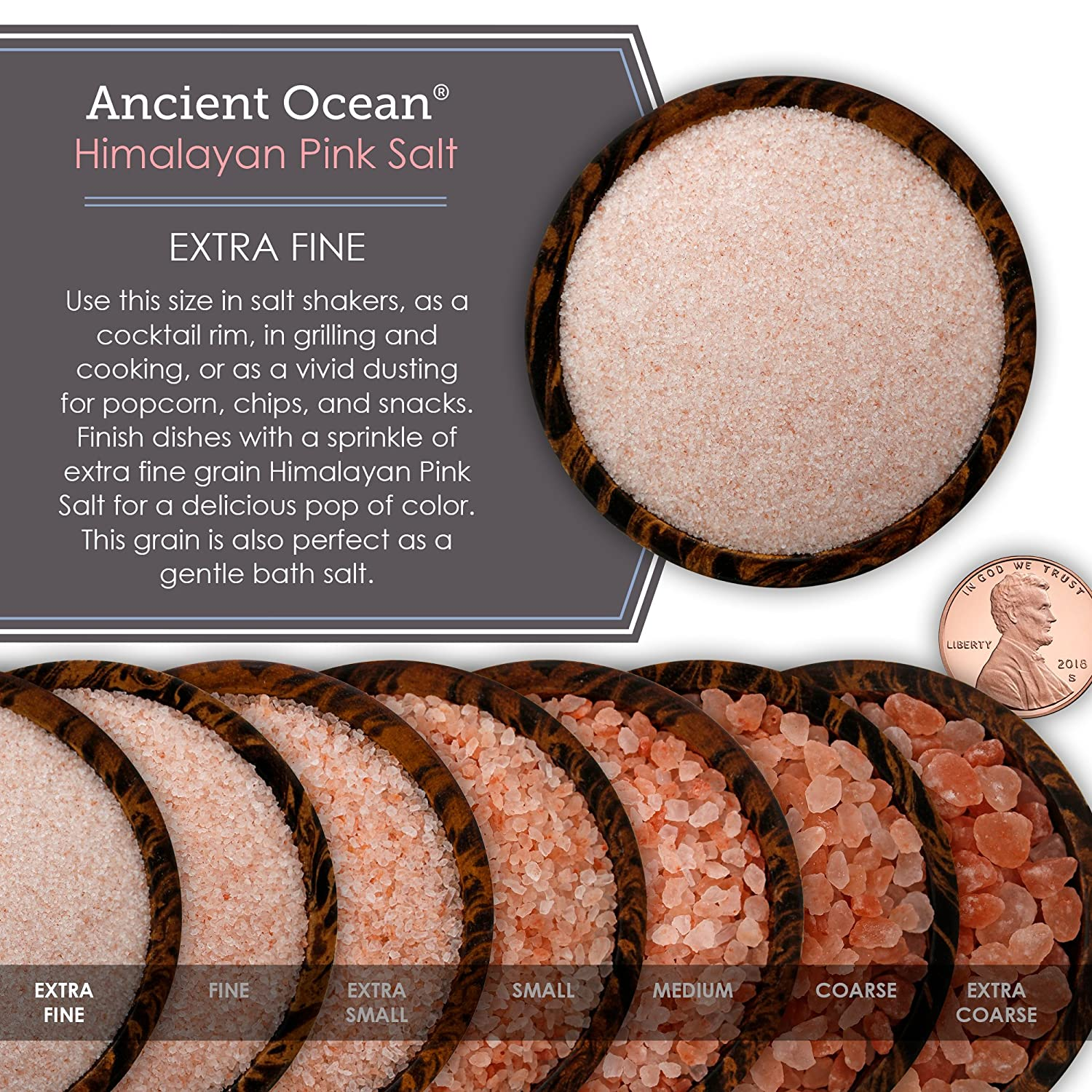 Ancient Ocean Himalayan Pink Salt, Extra Fine Grain, 5 Pound Bulk Bag