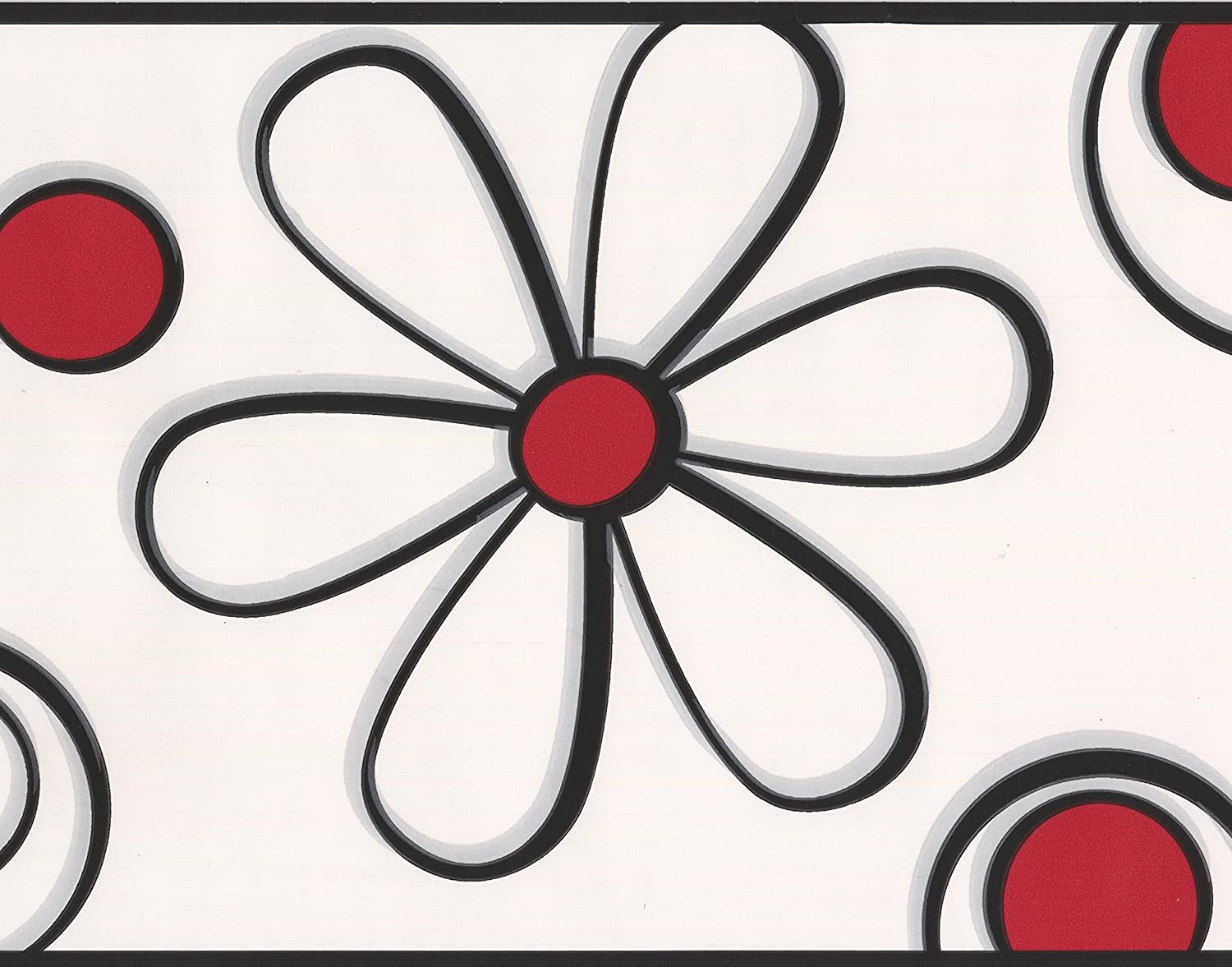 Abstract Red Black Flower Drawing White Wallpaper Border For Kids
