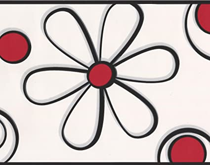 Abstract Red Black Flower Drawing White Wallpaper Border For