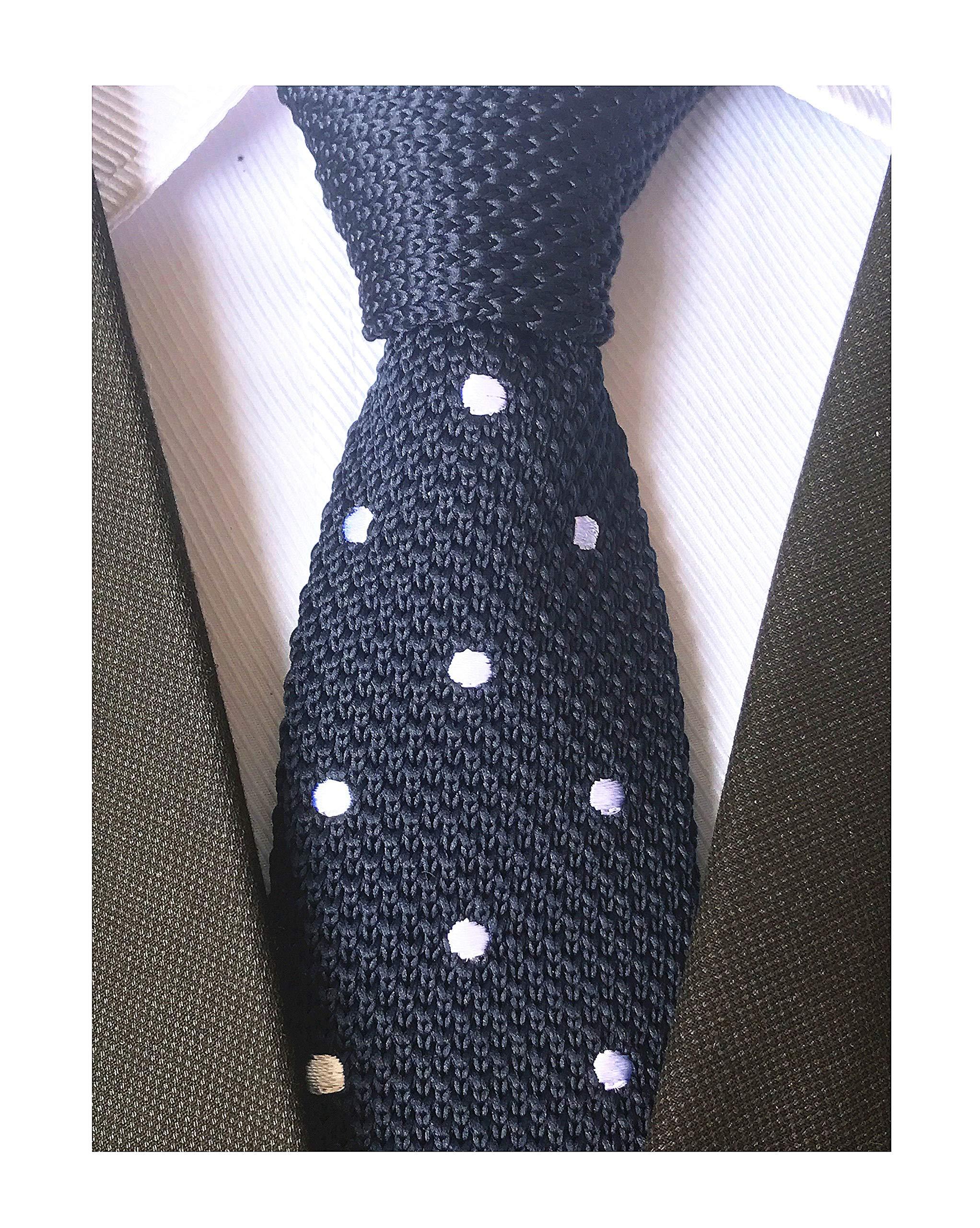 Secdtie Men's Navy Blue Knit Ties Classic Patterned Business Narrow Slim Necktie