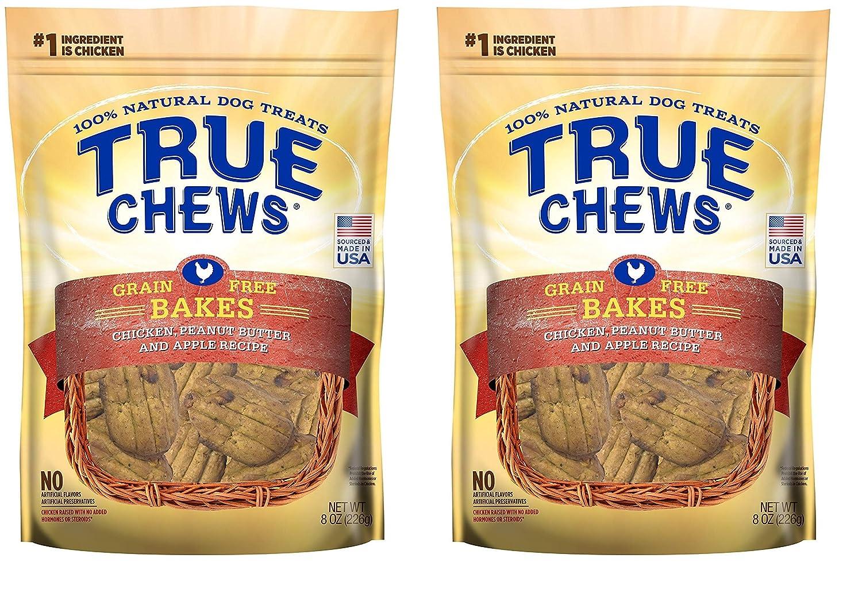 True Chews Dog Treats Premium GF Bakes Chicken Peanut Butter Apple Recipe 8 oz Made in USA
