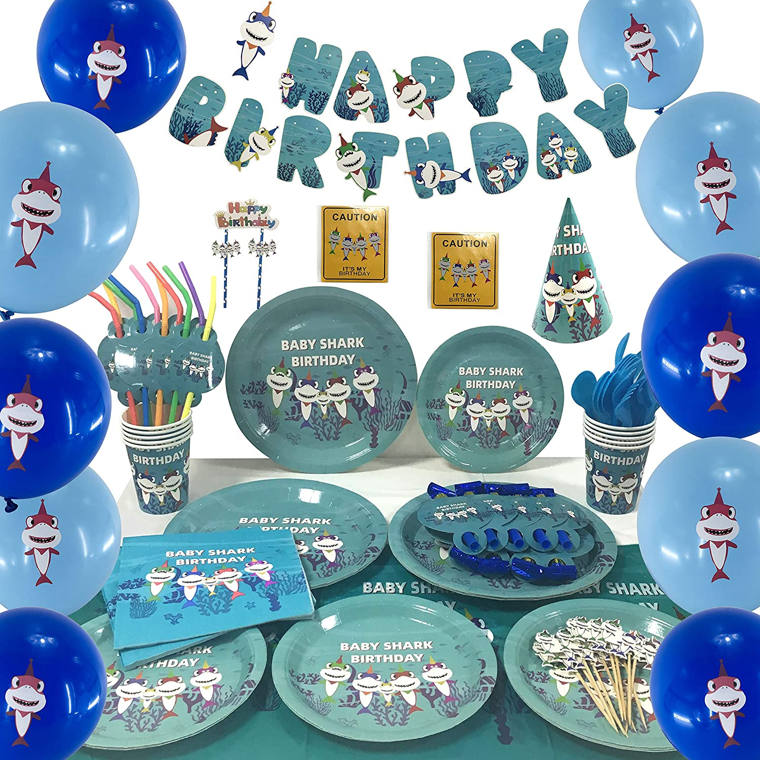 DBRANCO Baby Shark Party Supplies Set – Ocean Pool Party Decorations for Kids Birthday includes Plates Cups Straws Tablecloth Knives Spoons Forks Napkins Balloons Hats Blowouts Serves 10 Guests 140 PCS