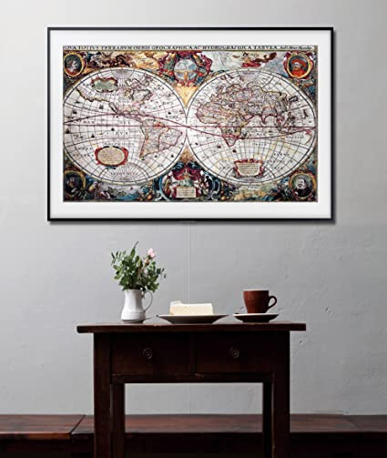Amazoncom LiveArtGifts Old World Map Wall Art By High Resolution - Framing a map print