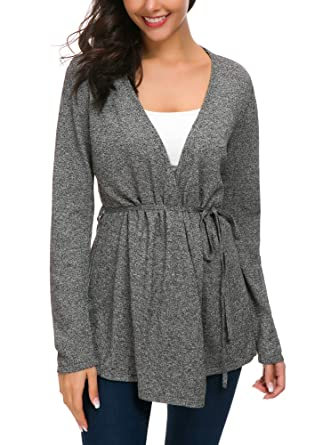 3734a7020c Women s Long Sleeve Wrap Sweater Open Front Knit Soft Drape Cardigan (S