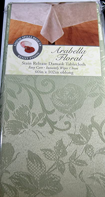 Arabella Floral Stain Release Pastel Green Damask Tablecloths Assorted  Sizes Oblong U0026 Round 100%