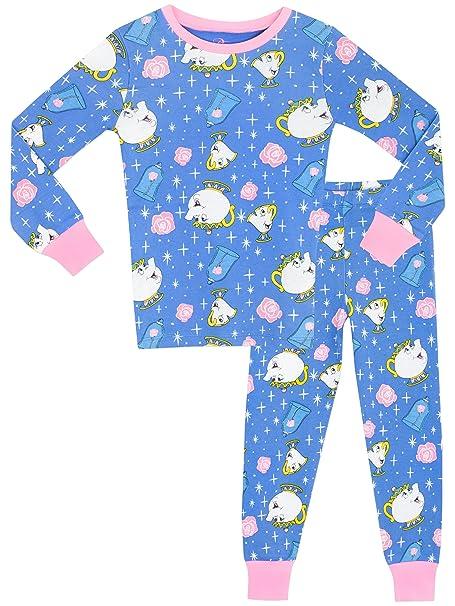 La Bella y la Bestia - Pijama para niñas - Mrs Pots y Chip - Ajuste Ceñido: Amazon.es: Ropa y accesorios
