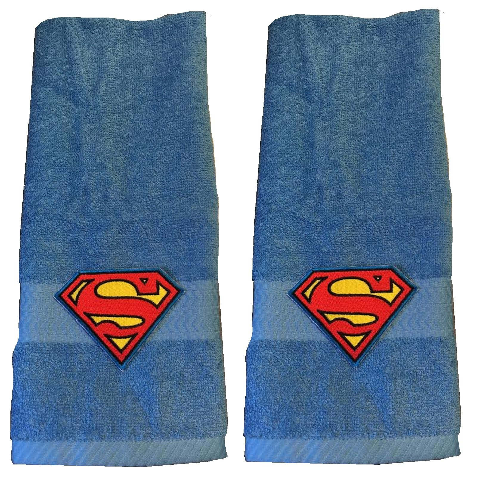 Superman Embroidered Hand Towel ~ Blue ~ Set of 2