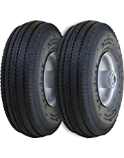 """Marathon 2310 2-Pack 4.10/3.50-4"""" Pneumatic (Air Filled) Hand Truck/All Purpose Utility Tires on Wheels, 2.25"""" Offset Hub, 5/8"""" Bearings"""