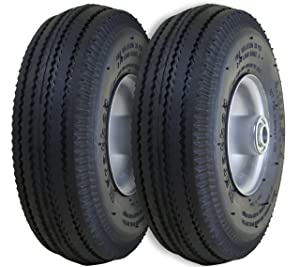 "Marathon 2-Pack 4.10/3.50-4"" Pneumatic (Air Filled) Hand Truck / All Purpose Utility Tires on Wheels,2.25"" Offset Hub, 5/8"" Bearings"