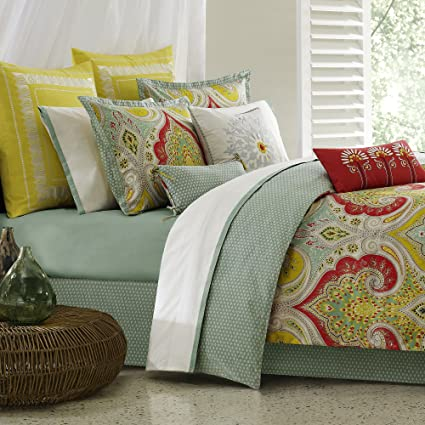Echo Design Jaipur Comforter Set Queen Size   Aqua, Yellow, Red, Bohemian  Paisley