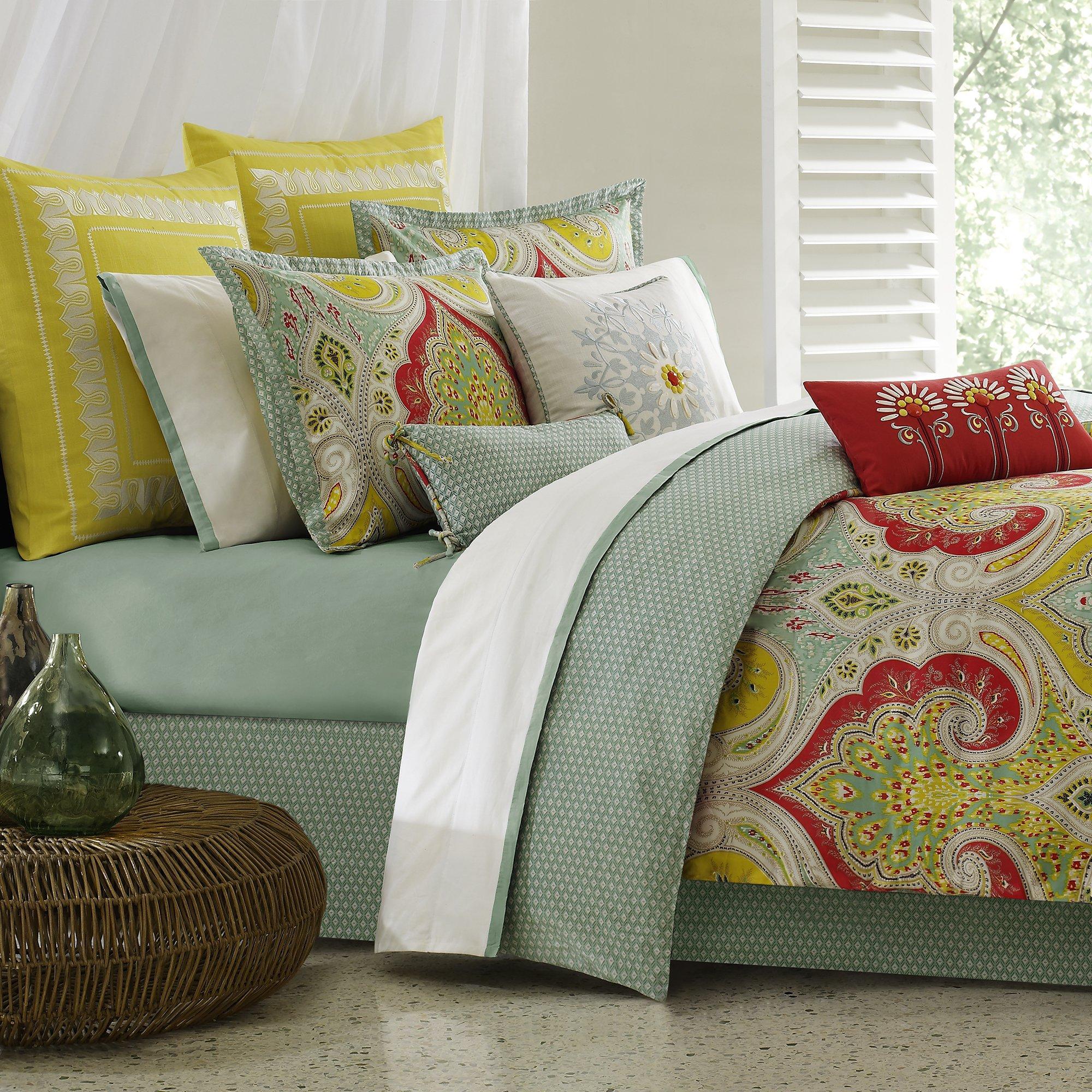 Echo Design Jaipur Comforter Set Queen Size - Aqua, Yellow, Red, Bohemian Paisley Damask – 4 Piece Bed Sets – 100% Cotton Teen Bedding For Girls Bedroom