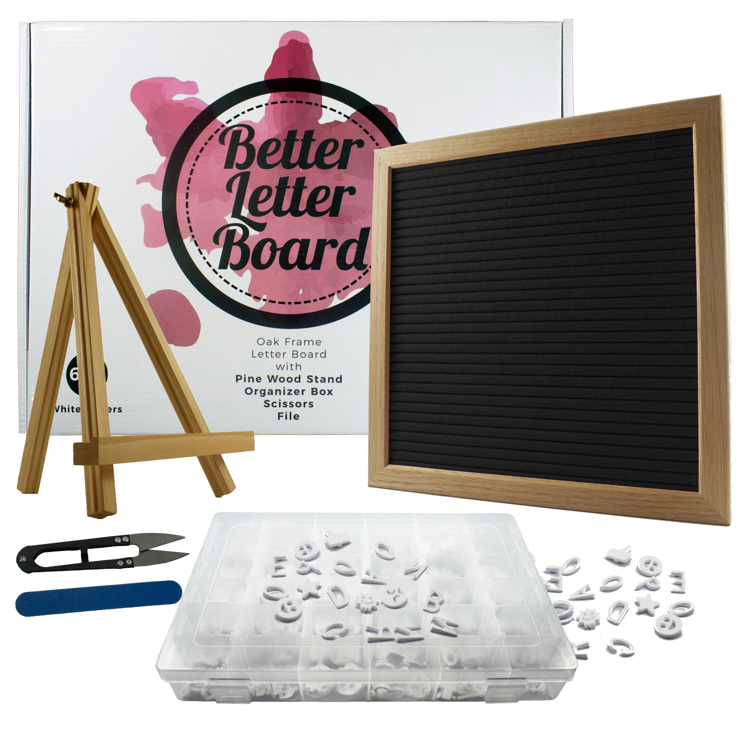 Black Felt Letter Board Bundle | 10 x 10 Inch Changeable Letter Board Set with 640 Letter Board Letters, Accessories, Wood Stand, Letter Box, Scissors & File | Perfect Bridal Shower Gift, Wedding Gift