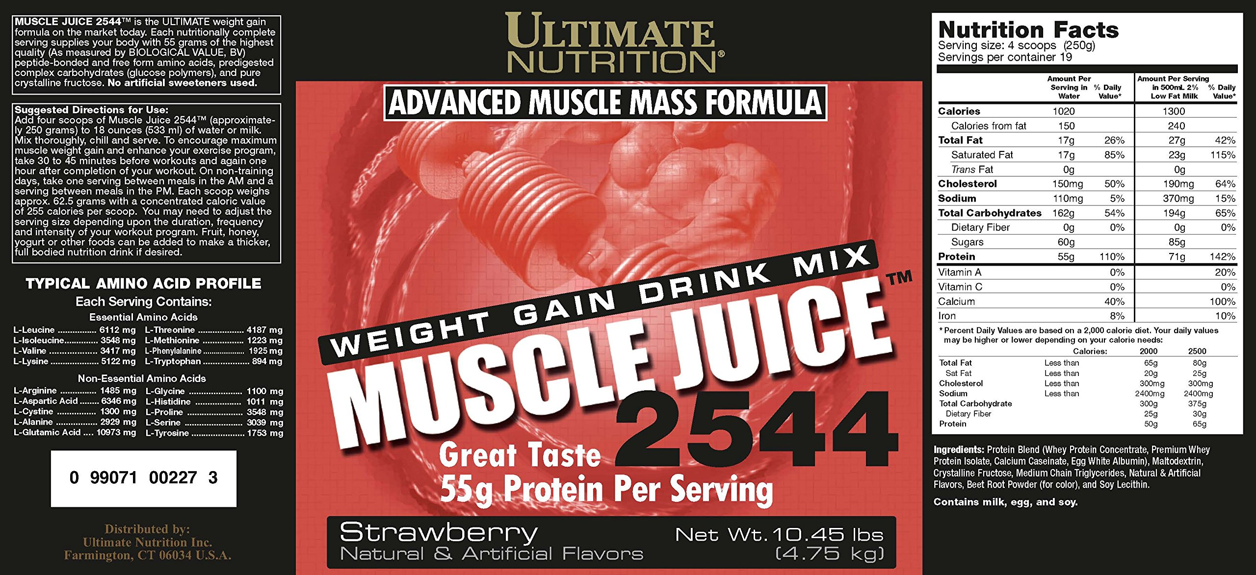 Ultimate Nutrition Muscle Juice 2544 Weight Gain Drink Mix, Strawberry, 167.2 Ounces by Ultimate Nutrition